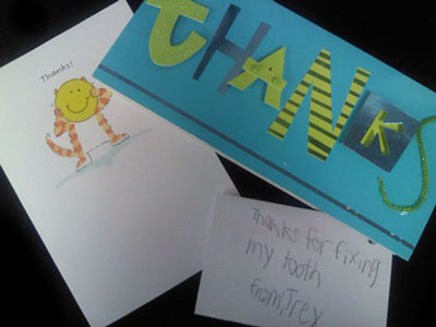 Photo of a few of the thank you cards received from happy customers at Middle Creek Dental, Nampa, ID
